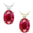 0.01 Carat TCW Diamond Oval Ruby Gemstone Pendant 14K White Yellow Gold