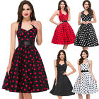 Halter Vintage 50's 60's Polka Dots Party Swing Housewife Cocktail Dance Dress