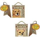 "5"" x 5"" Decor Hanging Wood Sign Plaque w Easel House is not a Home without a Dog"