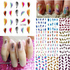 1pc Water Transfer Nail Art Feather Stickers Cute Beautiful Rainbow Tips Decals