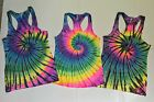 *New* Handmade Women's Racer Back Tank, Tie Dye Rainbow, All Sizes, 30 Yrs Exp!