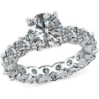 2 Carat G-H Diamond Full Eternity U Band Engagement Bridal Ring 14K White Gold 1