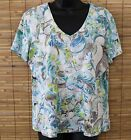 CHICO'S - SS STRETCH PULLOVER SHIRT/BLOUSE - V-NECK - 95% COTTON - SIZE 2 - EUC