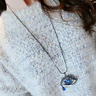 High Quality Blue Eyes Angel Tear Pendant Crystal Long Necklace Sweater Chain