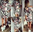 Hot Women Retro Printed Sexy Half sleeve Slim Bodycon Package ball Hip Dress