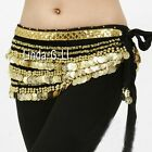 Woman Belly Dance Costume Velvet Hip Scarf with Gold Coins 9 Color choices 9 5