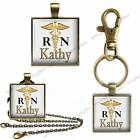 RN Custom Your Name Key Chain Pendant Charm or Necklace Nurse Nursing Career