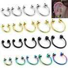 16G 6/8/10/12/14mm Steel Horseshoe Bar Lip Nose Captive Ring Earrings Piercing