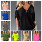 Summer Plus Size Women Loose Casual Short Sleeve Sexy T-Shirt Blouse Tee Tops CC