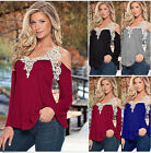 2016 New Style Female Loose Casual Long Sleeve Sexy Lace Blouse Tops Hot LCF