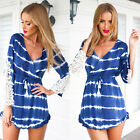 New Women Fashion Sexy Lace Stitching Long Sleeve Short Mini Dress Beach Dress