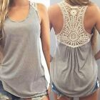 Fashion Women Summer Lace Loose Vest Top Sleeveless Casual Tank Blouse T-Shirt