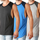 Mens RAGLAN DEEP CUT Muscle Tanks Cut Off Sleeve Tees RAW EDGE gym Casual LONG