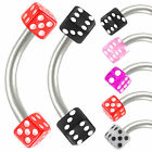 2Pcs curved barbell eyebrow ring dice acrylic bar piercing 9IAQ-PICK COLOR&SIZE