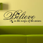Wall Decal Quote Vinyl Art Lettering pick size & color Believe Christmas Holiday