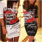 Newest  Women Sexy Occident Summer Slim Printing 3/4 Sleeve Short Dress White