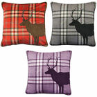 Catherine Lansfield TARTAN STAG Cushion Covers Red Heather Charcoal