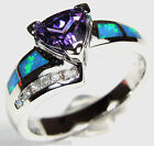 7mm Amethyst & Blue Fire Opal Inlay Solid 925 Sterling Silver Ring size 6 7 8 9