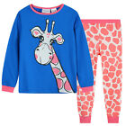 Pyjamas Girls Cotton Knit Pjs (Sz 8-14) Set Blue PInk Giraffe Sz 8 10 12 14