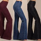 DREAM WEAVER Denim Effect Boho Flare Bell Bottom Pants Pull On Knit S-L 7 Colors
