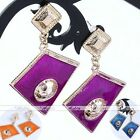Fashion Women's Korean Style Enamel Rhombus Golden Drop Dangle Earrings Ear Stud