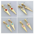 1Pair Golden Crystal Metal Skull Spike Ear Stud Dangle Earring Punk Gothic Rock