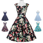 Women's FLORAL Vintage 1950s Retro Casual Party Cocktail Pin Up Tea Swing Dress