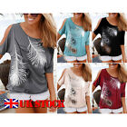 Fashion Women's Feather Print Casual Short Sleeve Off Shoulder Tops Loose Blouse
