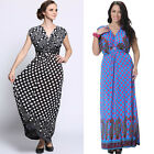 Retro Polka Dot Women's Dress Florwer Pleated V neck Day or Everyday Long Dress