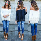 lady Off Shoulder Lace Strapless T-Shirt Summer Loose Tops Blouse PLUS Size Hot