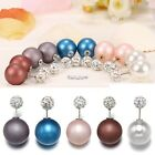 1 Pair Fashion Women Jewelry Double Sided Crystal Pearl Beads Ear Studs ES9P