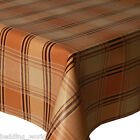 PVC TABLE CLOTH HIGHLAND CREAM TARTAN CHECK BEIGE LATTE BROWN WIPEABLE PROTECTOR