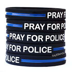One Hundred 100 Pray For Police Thin Blue Line Wristbands, Law Enforcement Bands