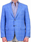 KITON Napoli Hand Made Blue Plaid Cashmere-Silk-Linen Jacket NEW