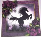 Handmade Greeting Card 3D All Occasion With A Unicorn And Purple Roses