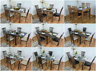 Solid Wood Dining Table and 4 Chairs Set Glass Extending Kitchen Furniture Sets for sale  United Kingdom