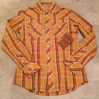 TRUE RELIGION Shirt ROCKY Button Down Plaid Long Sleeve Tan Mens NEW