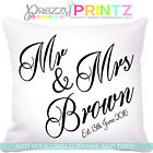 ❤PERSONALISED WEDDING CUSHION MR & MRS ANNIVERSARY GIFT CHRISTMAS VALENTINES DAY