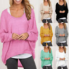 Plus Size Women Casual Long Sleeve Loose Knitwear Pullover Baggy Jumper Tops Tee