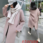 Womens Lapel Loose Casual Spring Autumn Wool Blend Coats Jackets Outwears Size
