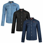 Lee Cooper Slim Fit Denim Shirt New Western Mid Dark Wash Blue Black Jean Shirts