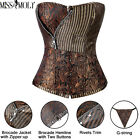 Sexy Women's Top Corset Women Zip Pinstriped Bustier Lace Up Boned Steampunk UK