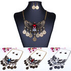 Women Girl Vintage Jewelry Sets Eagle Coin Crystal Rhinestone Necklace Earrings