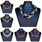 Fashion Women Lady Bohemian Handmade Jewelry Sets Bib Necklace Hook Earrings