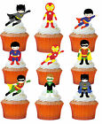 24 x SUPERHERO BOYS STAND UP Precut Edible Wafer Cupcake Toppers