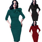 Plus Size Womens Wiggle Elegant Pencil Midi Vintage Dress Retro 50s Peplum Dress