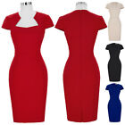 Plus Size Womens Vintage Style High Stretchy Hips-Wrapped Bodycon Wiggle Dresses