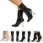 NEW WOMENS LADIES PERSPEX HIGH HEEL ANKLE BOOTS ZIP UP FASHION CASUAL PARTY SHOE