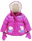 Bnwt New Peppa Pig Girls' Padded Coat With Mittens 18-24 Months 4-5 Years