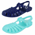 GIRLS UNBRANDED T-BAR FLAT JELLY SANDALS (2 COLOURS) STYLE: H2309